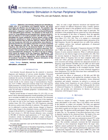 Effective Ultrasonic Stimulation in Human Peripheral Nervous System.
