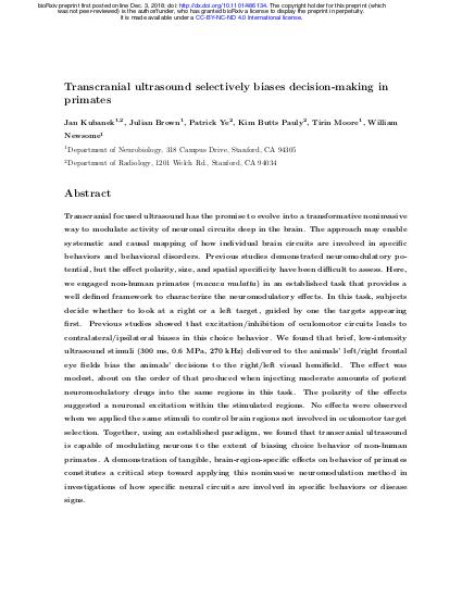 Preprint of sonic neurostimulation in non-human primates